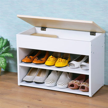 Homelike  雅緻掀蓋式穿鞋椅-楓木+白色