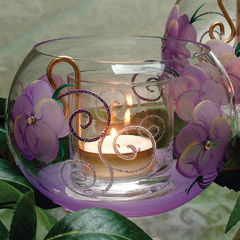Madiggan玫瑰手工彩繪圓碗燭台(粉紅.紫色.金黃三色任選)