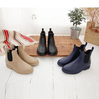《DOOK》英倫雅痞風側邊鬆緊帶短筒雨靴-兩色選