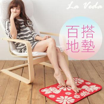 【La Veda】朵朵熊防滑地墊 (熱情紅) 45x65cm
