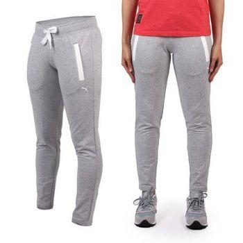 【PUMA】女棉質長褲-慢跑 路跑 瑜珈 有氧 休閒 運動 淺灰白 腰部抽繩