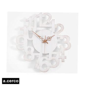 【a.cerco】NUMERIC LINK 立體數字造型掛鐘 (復古白)