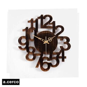 【a.cerco】NUMERIC LINK 立體數字造型掛鐘 (復古黑)