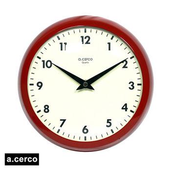 【a.cerco】小鐵凸玻璃掛鐘(紅色)