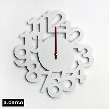 【a.cerco】 立體數字造型掛鐘 (白色)