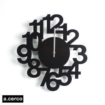 【a.cerco】 立體數字造型掛鐘 (黑色)