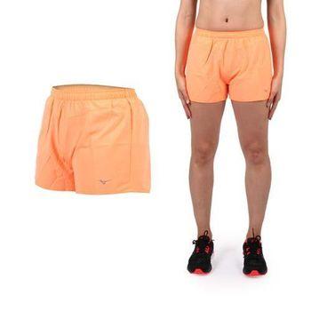 【MIZUNO】女路跑短褲- 美津濃 慢跑 路跑 休閒 運動 鐵人三項 亮橘  腰間暗袋