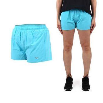 【MIZUNO】女路跑短褲- 美津濃 慢跑 路跑 休閒 運動 鐵人三項 水藍銀 腰間暗袋