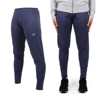 【MIZUNO】女針織長褲- 美津濃 慢跑 路跑 休閒 運動 藍灰 雙色