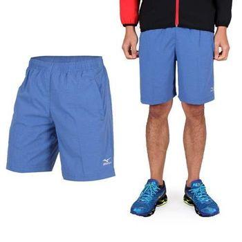 【MIZUNO】男平織短褲- 訓練 慢跑 路跑 風褲 休閒短褲 美津濃 藍銀 後方拉鍊口袋
