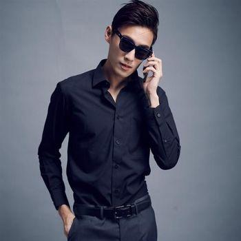 【WELLCUT】男士防皺長袖襯衫(黑)