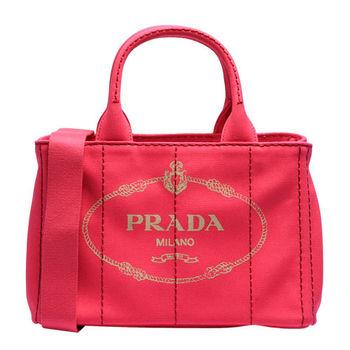 PRADA CANAPA三角LOGO帆布縫線造型手提斜背包(小-桃紅)