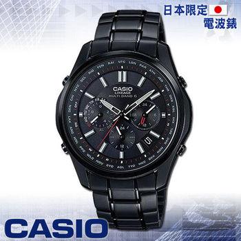 【CASIO 卡西歐】日系_三眼太陽能電波男錶(LIW-M610DB 黑)