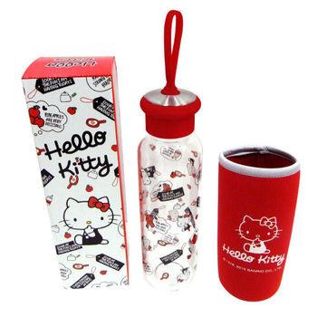 Hello Kitty附布套玻璃水壺500ml-紅