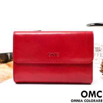 OMC - 原皮魅力真皮系列三折多卡式中夾-共3色