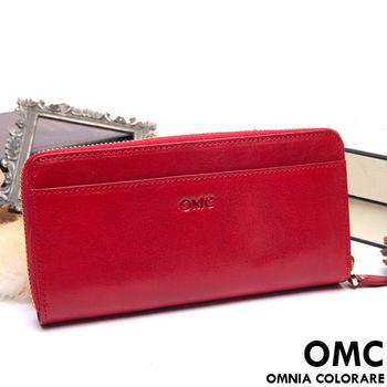 OMC - 原皮魅力系列舌扣多卡零錢包二折式長夾-共3色