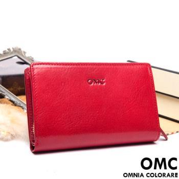 OMC - 原皮魅力系列舌扣零錢包二折式中夾-共3色