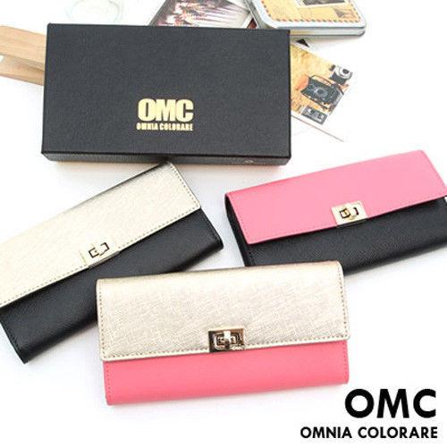 OMC - 專櫃雙色系真皮款兩折式長夾-共3色