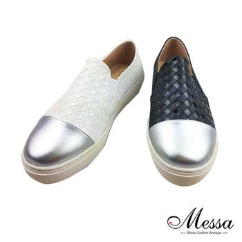 【Messa米莎專櫃女鞋】MIT時尚指標拼接編織內真皮懶人鞋-二色-型(網)