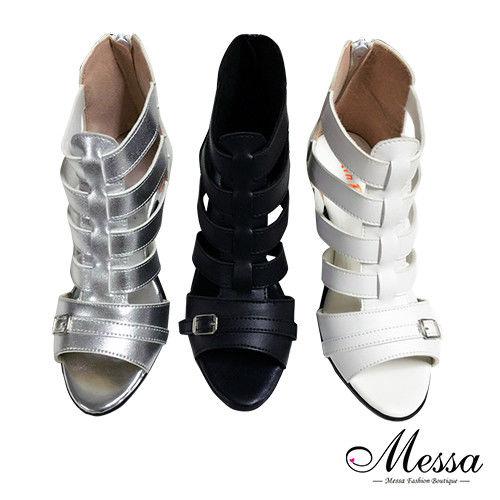 【Messa米莎專櫃女鞋】MIT時尚羅馬線條感內真皮粗跟涼鞋-三色-型(網)