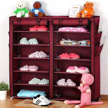 日本MAKINOU 雙排六層多功能收納櫃(附贈門簾防塵罩)-酒紅色