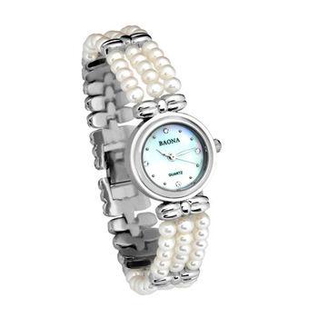 Baona經典珍珠水晶腕錶