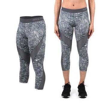 【NIKE】女緊身七分長褲- 耐吉 慢跑 路跑 瑜珈 緊身褲 條紋灰白 特殊壓紋拼接