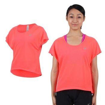 【NEWBALANCE】女短袖T恤-紐巴倫 上衣 慢跑 路跑 休閒 瑜珈 螢光橘  100%聚酯纖維
