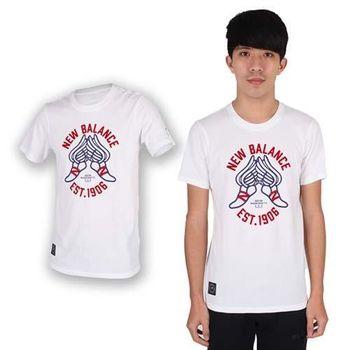 【NEWBALANCE】男圓領短袖T恤-NB 紐巴倫 上衣 慢跑 路跑 休閒 白紅藍