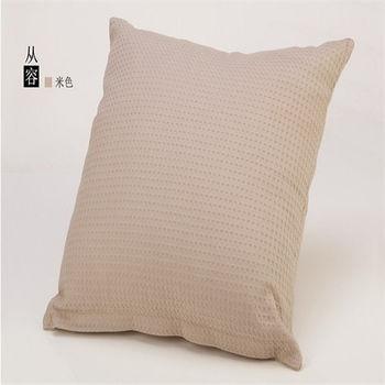 【協貿】全棉華夫格素色純色雅緻米灰沙發方形抱枕含芯