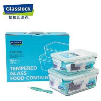 韓國【Glasslock】二件式強化玻璃保鮮盒實用組(715ml+1100ml)贈膠條易取棒