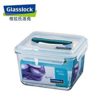 韓國【Glasslock】手提長方強化戶外野餐大容量玻璃保鮮盒3700ml