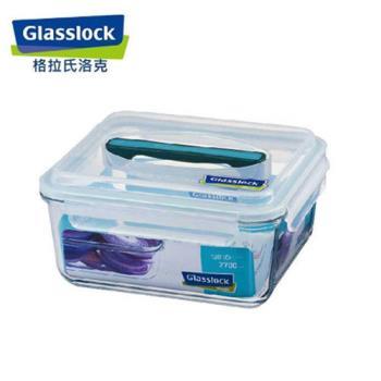 韓國【Glasslock】手提長方戶外野餐強化玻璃保鮮盒 2700ml