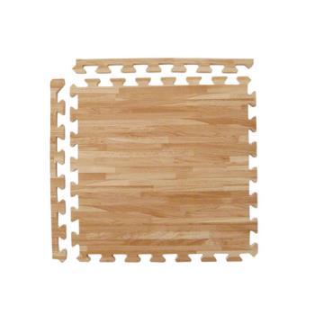 【新生活家】耐磨拼花木紋地墊-淺色45x45x1.2cm-12入(附邊條)