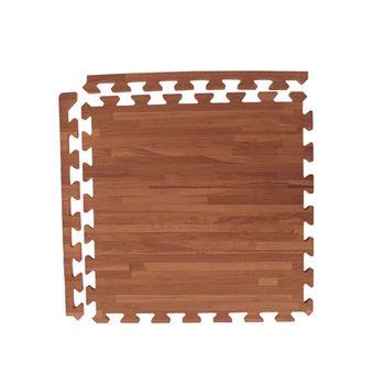 新生活家  耐磨拼花木紋地墊-深色45x45x1.2cm-12入(附邊條)