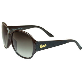 GUCCI 李冰冰代言-logo款時尚太陽眼鏡(深咖啡)