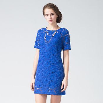 IFOREST 性感簍空蕾絲洋裝(藍色)15508