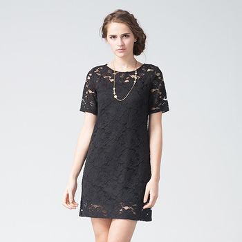 IFOREST 性感簍空蕾絲洋裝(黑色)15508