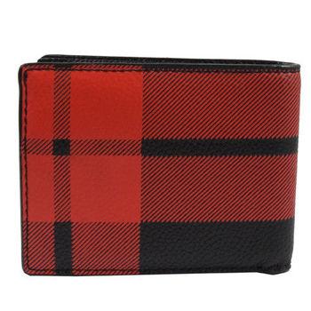 COACH 75082 經典烙印LOGO皮革壓紋簡式短夾.紅