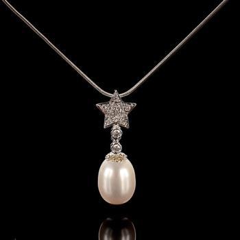 【寶石方塊】日麗風清天然珍珠項鍊-925銀飾