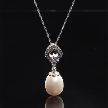 【寶石方塊】完美的愛天然珍珠項鍊-925銀飾
