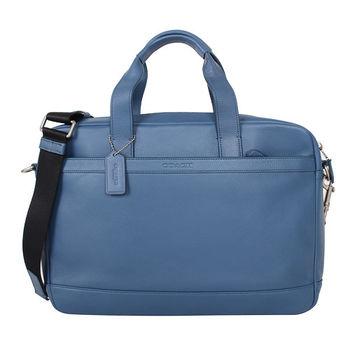 COACH 素面皮革手提斜背公事包(藍)