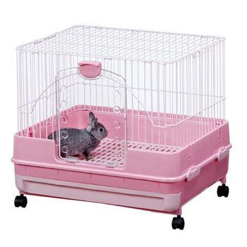 【MARUKAN】日本 新款高挑 抽屜式精緻兔籠 粉色(MR-976)
