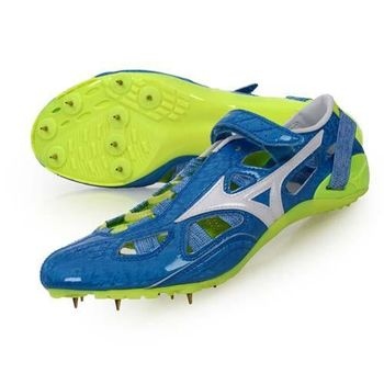 【MIZUNO】CHRONO INX 9 日製男田徑釘鞋-競賽 短距離 藍白螢光綠
