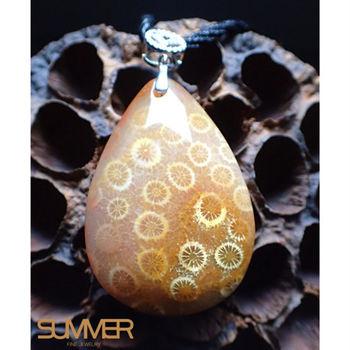 【SUMMER寶石】水滴型珊瑚玉墜(隨機出貨)