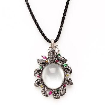 【寶石方塊】花朝月夕天然緬甸水沫玉項鍊-925純銀飾