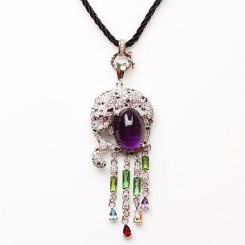 【寶石方塊】舉止嫻雅天然紫水晶項鍊-925銀飾