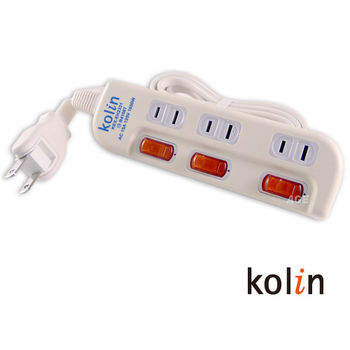 Kolin 3切3孔安全電源延長線_KEX-EH2331