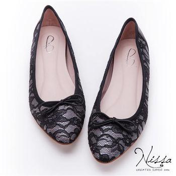 NISSA 微內增高-蕾絲尖楦蝴蝶結平底鞋 粉 灰