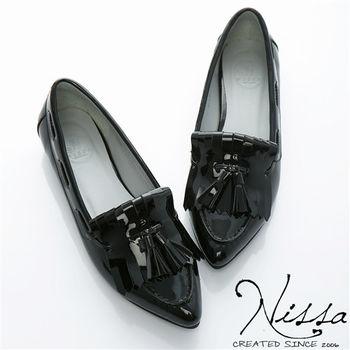 NISSA 真羊皮~羊漆啾啾流蘇平底鞋 黑